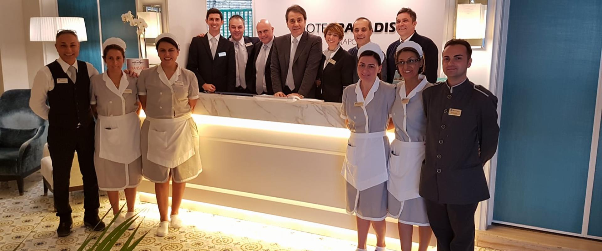 TheBW Signature Collection Hotel Paradiso present its staff for the year 2018, a freshly renovated the hotel reception.